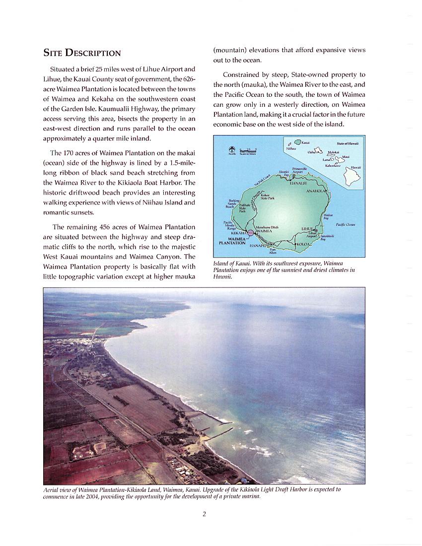 Land Development Brochure : Waimea plantation community development plan